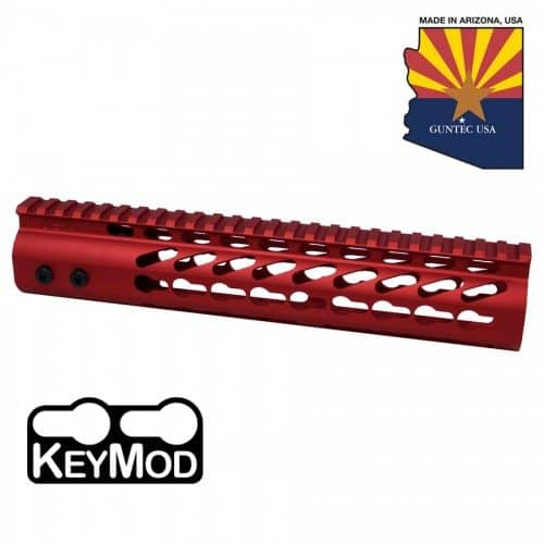 "AR15 KeyMod Free Float 10"" Spector Length Handguard In Red"