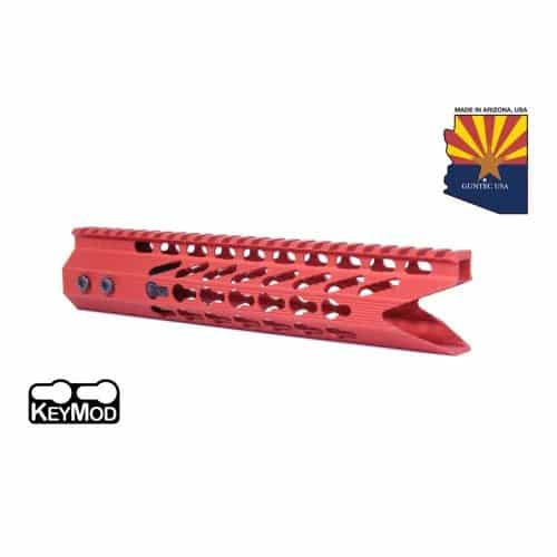 AR-15 KeyMod Octagonal 10 inch Spector Shark Mouth Handguard In Red