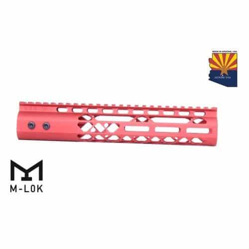 "AR-15 10"" M-LOK Diamond Series Free Float Handguard In RED"