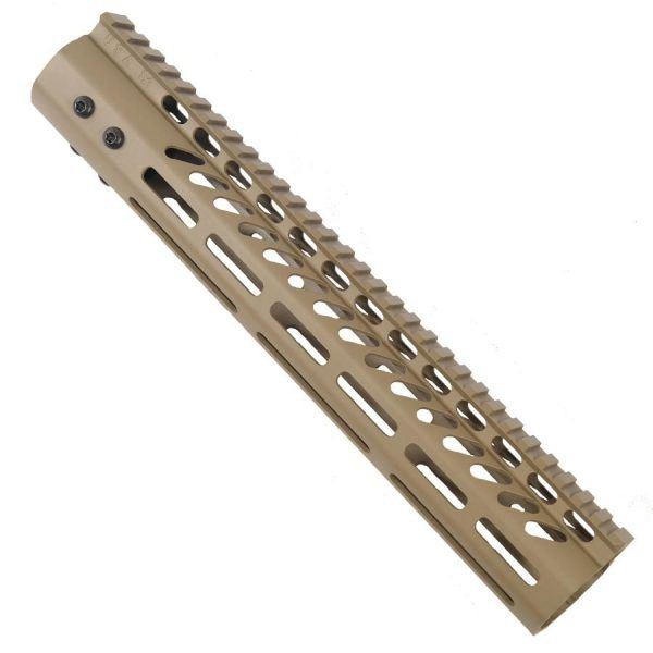 LR 308 12 inch Free Float Ultra Light Slim Profile M-LOK Handguard in FDE