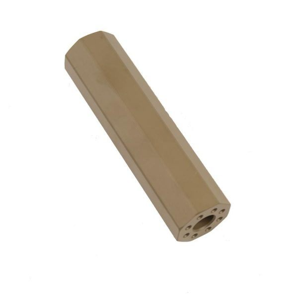 AR-15 Octagonal Barrel Extension Mock Suppressor In FDE