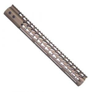 15 inch free float keymod handguard for ar15 in cerakote burnt bronze