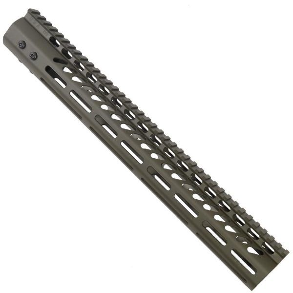 LR 308 15 inch Free Float Ultra Light Slim Profile M-LOK Handguard in OD Green