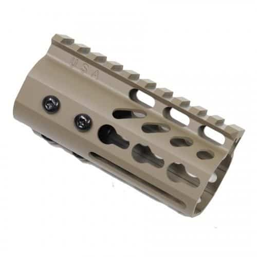 "AR15 4"" Ultralight KeyMod Free Float Handguard in FDE"