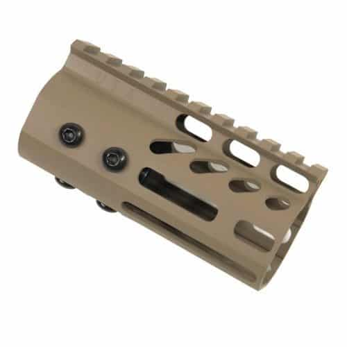 "AR15 4"" Ultralight M-LOK Free Float Handguard Side View FDE"