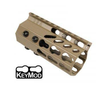AR-15 KeyMod Free Float Rail Light Octagonal 4 inch Pistol Length Handguard in FDE