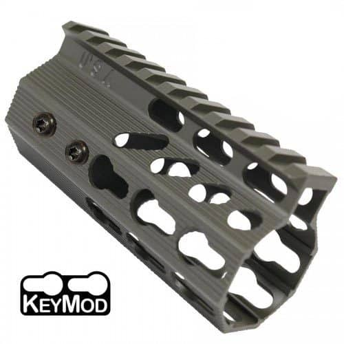 AR-15 KeyMod Free Float Rail Light Octagonal 4 inch Pistol Length Handguard in OD Green