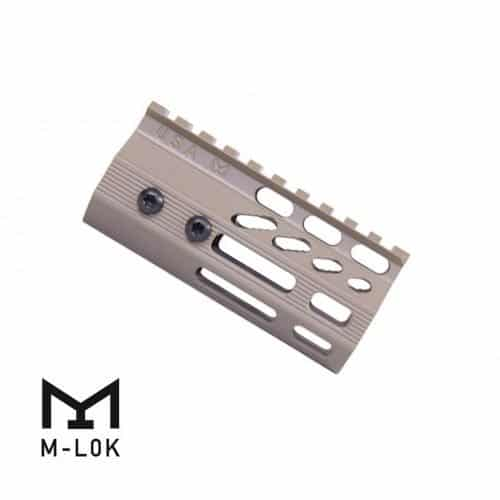 "4"" Ultra Slimline Octagonal 5 Sided M-LOK Free Floating Handguard Rail in FDE"