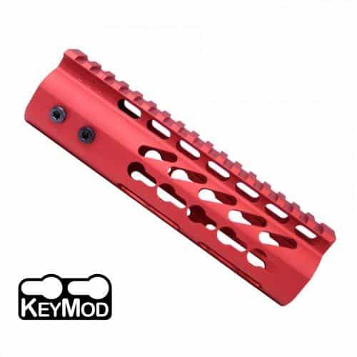 "AR15 7"" KeyMod Ultra Light Free Float Carbine Handguard Rail in Red"