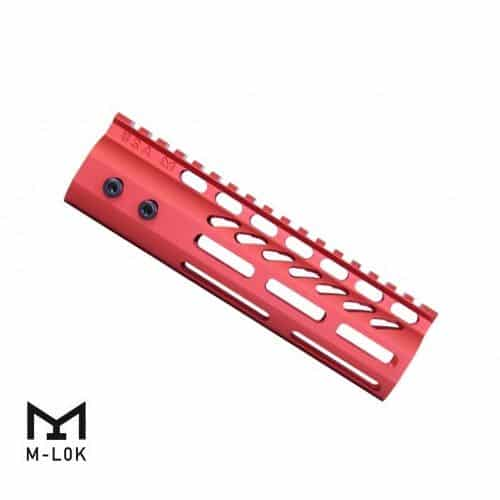 """AR-15 M-Lok 7"""" Free Float Ultra Light USA Made Rail in Red"""