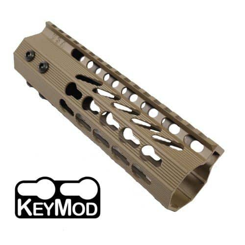 AR-15 KeyMod Free Float Super Light Octagonal 7 inch Carbine Length Handguard in FDE