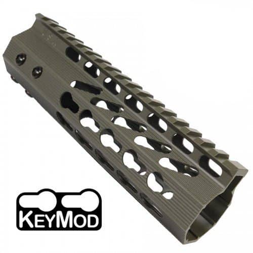 AR-15 KeyMod Free Float Super Light Octagonal 7 inch Carbine Length Handguard in OD Green