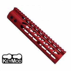 "AR15 KeyMod Free Float 9"" Mid-Length Handguard Rail in Red"