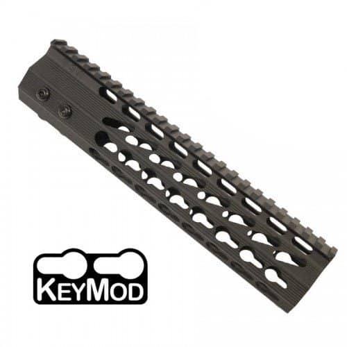 AR-15 KeyMod Free Float Super Light Octagonal 9 inch Mid-Length Handguard Rail in OD Green