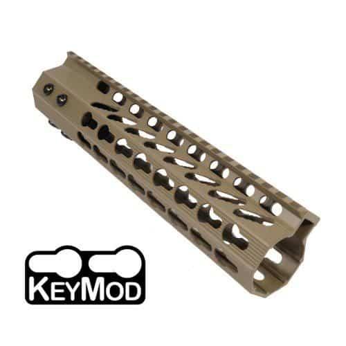 AR-15 KeyMod Free Float Super Light Octagonal 9 inch Mid-Length Handguard Rail in FDE