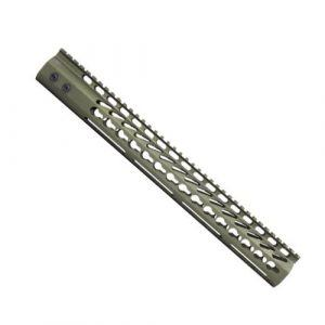 AR15 15 Inch KeyMod Free Float Handguard in Anodized Green