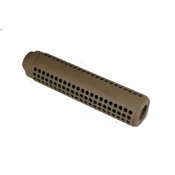 AR-15 Slip Over Socom Fake Suppressor with Holes In FDE
