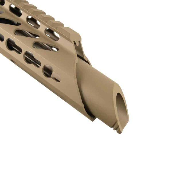 AR 15 Pistol Upper 5.56 RIP Slant Cut KeyMod with Slant Cone in Magpul Flat Dark Earth Close up