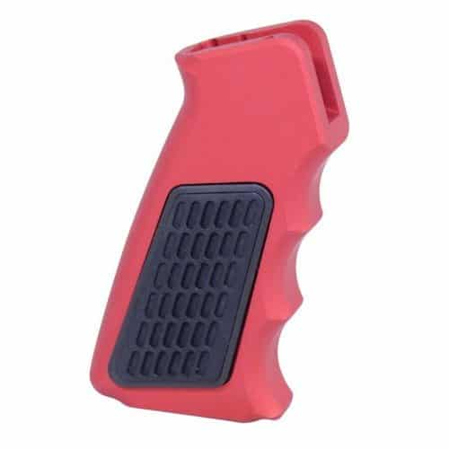 Hybrid Skeletonized Aluminum Pistol Grip With Neoprene Panels Anodized Red