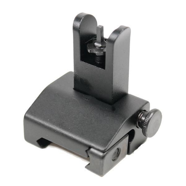 AR 15 Spring Loaded Slim Back Up Iron Sights on AR 15 Pistol