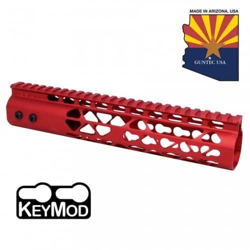"AR-15 Diamond Series 10"" KeyMod Free Float Handguard In Red"