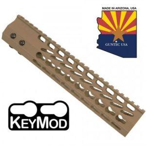 """AR-15 10"""" Octagonal Free Float Keymod Handguard In FDE"""