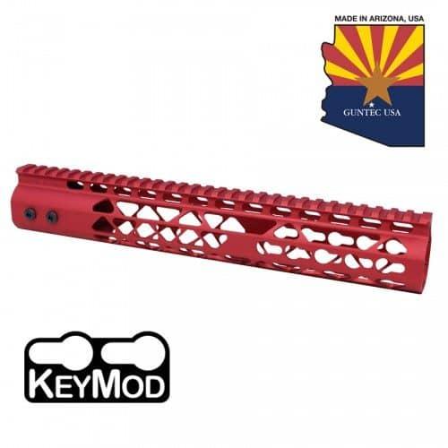 "AR15 Diamond Series 12"" KeyMod Free Float Handguard in RED"