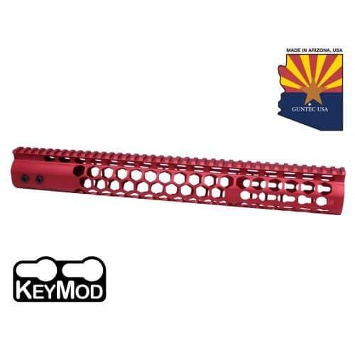 """AR15 Honeycomb 15"""" Keymod Free Floating Handguard Anodize Red Finish"""