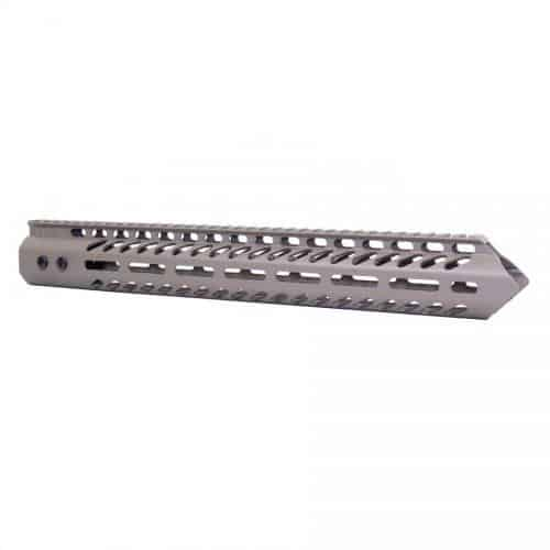 LR 308 15 inch Free Float Warhead Slim Profile M-LOK Handguard in Flat Dark Earth