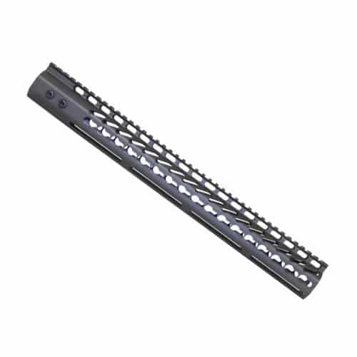 LR 308 16.5 inch Free Float Ultra Light Slim Profile KeyMod Handguard in OD Green