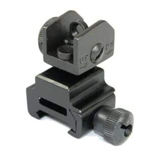 A2 Back Up Iron Sights in Aluminum and Steel folded down