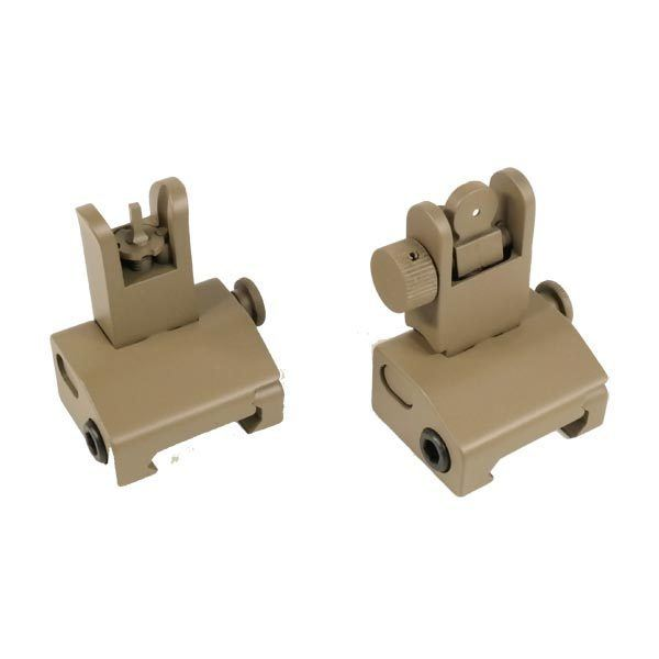AR-15 Spring Loaded Slim Back Up Iron Sight Set in Dark Earth