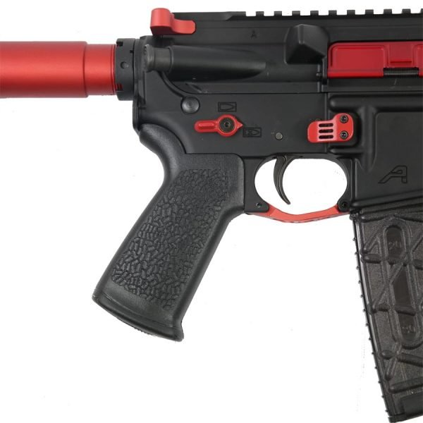AR15 Extended Mag Release Paddle Style in Red Mounted on AR