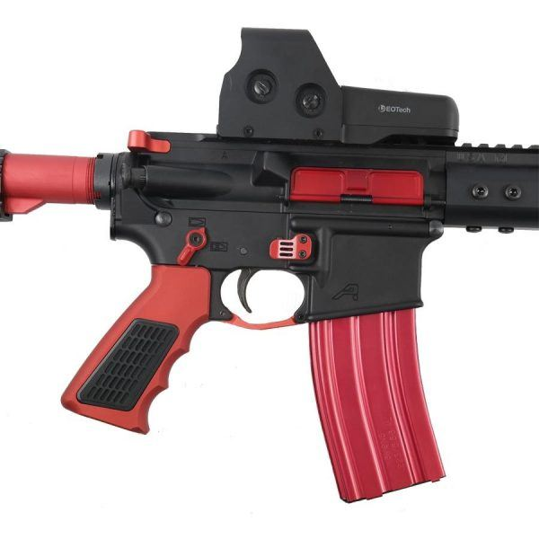AR 15 Red Accents Kit With M-LOK Grip Mounted