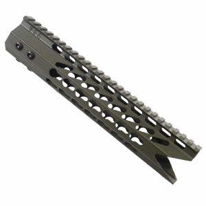 AR-15 KeyMod Octagonal 10 inch Spector Shark Mouth Handguard In OD Green