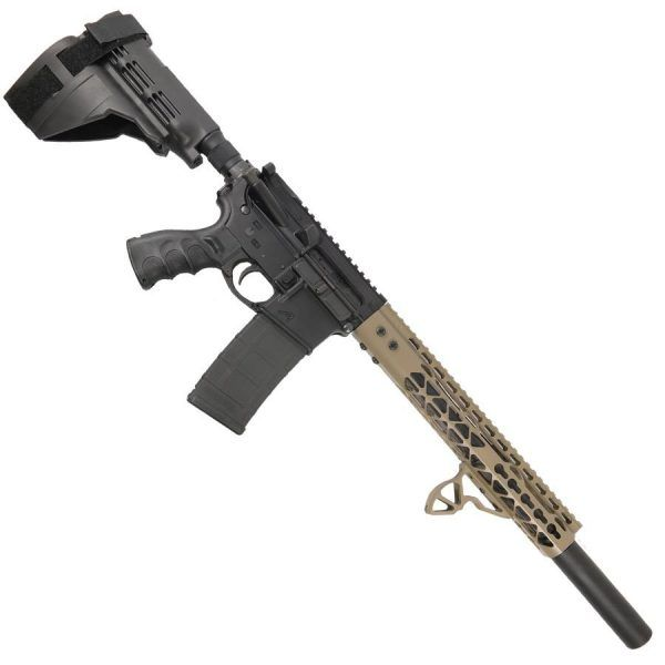 "AR 15 Pistol Upper 5.56 12"" Diamond KeyMod With Fake Can"