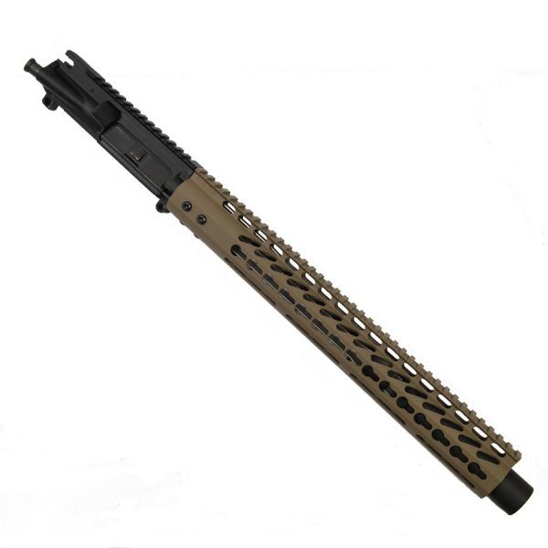 AR-15 5.56 Upper With FDE 15 inch KeyMod Ultra Light Hand Guard And Mock Suppressor