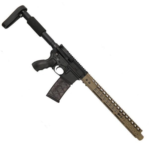"AR-15 5.56 Upper With FDE 15"" KeyMod Ultra Light Hand Guard And FDE Mock Suppressor Shroud"