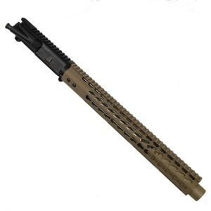 "AR-15 5.56 Upper With FDE 15"" KeyMod Ultra Light Hand Guard And FDE Mock Suppressor Shroud"