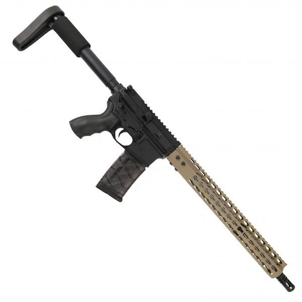 "AR15 5.56 Upper with 15"" Octagonal Super Light KeyMod Slim profilev and Match Grade Barrel With A2 Flash Hider In FDE"