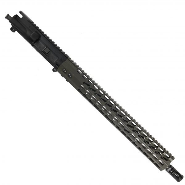 "AR15 5.56 Upper with 15"" Octagonal Super Light KeyMod Slim profile and Match Grade Barrel With A2 Flash Hider In OD Green"