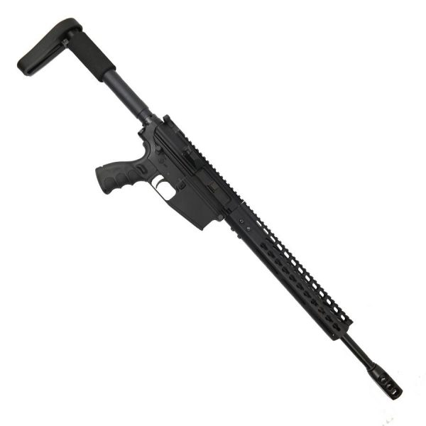 "AR LR308 Complete Upper Receiver with 16"" Nitride Barrel and 12"" Slim Profile KeyMod Handguard And Tank Brake"