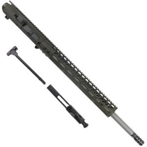 AR 6.5 Creedmoor Upper 15 inch Slim M-Lok Handguard In OD Green