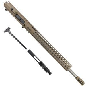 AR 6.5 Creedmoor Upper Receiver 16.5 inch Slim Profile KeyMod or M-LOK Handguard And Tank Brake In FDE