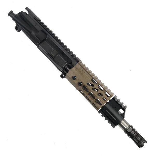 "AR-15 Pistol Upper with 4"" Octagonal KeyMod and Mini Flash Hider In FDE"