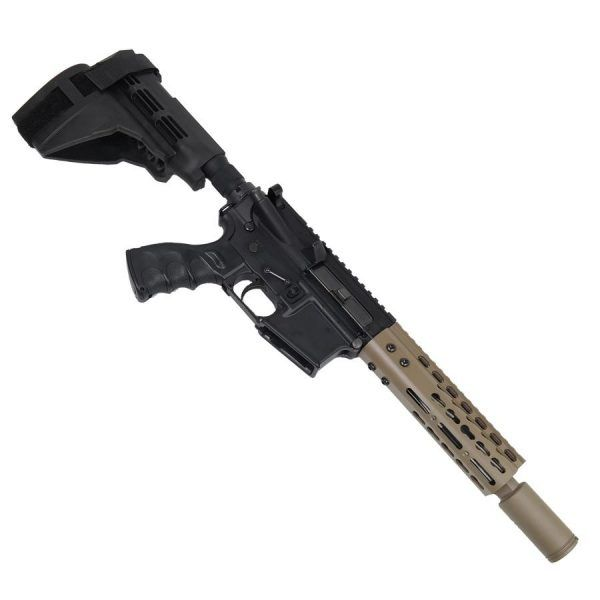 "AR 15 Pistol Upper 5.56 7"" KeyMod Slim Profile RIP Series Black in Magpul Dark Earth on Lower"