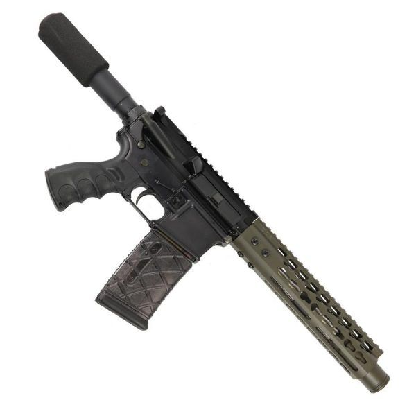 "AR 15 Pistol Upper 5.56 9"" KeyMod Slim Profile RIP Series Black in OD Green"