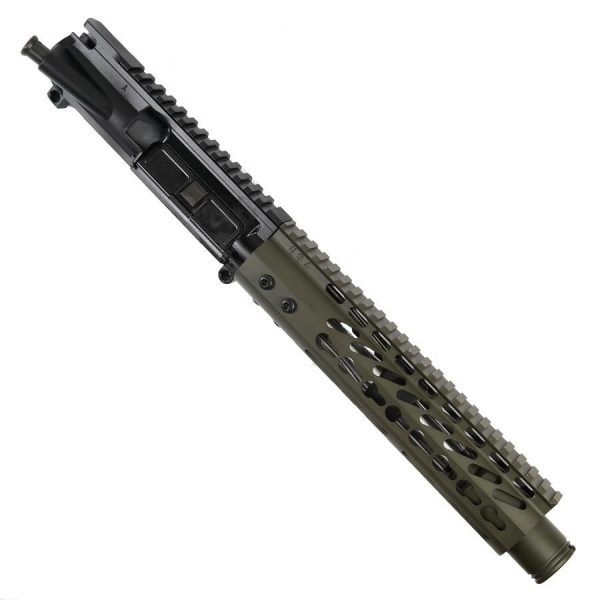 "AR 15 Pistol Upper 5.56 9"" KeyMod Slim Profile RIP Series Black in OD Green"