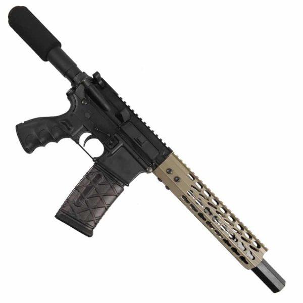 "AR 15 Pistol Upper 5.56 9"" Custom KeyMod Octagonal Handguard In FDE With Mock Suppressor"