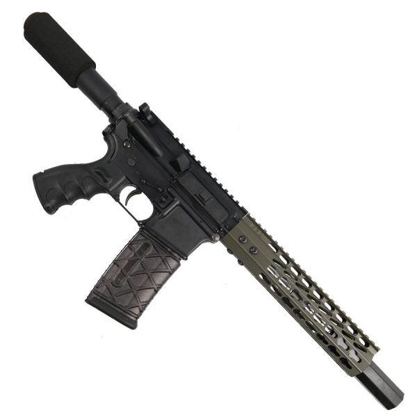 "AR 15 Pistol Upper 5.56 9"" Custom KeyMod Octagonal Handguard In OD Green With Mock Suppressor"